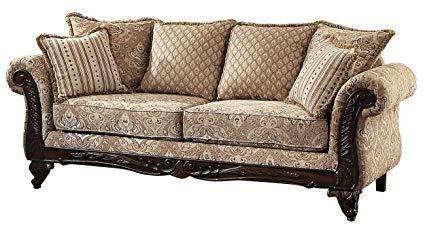 Homelegance 8233FA-3 Thibodaux Floral Sofa, Brown