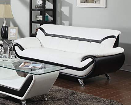 Acme Furniture ACME Rozene White and Black Bonded Leather Sofa