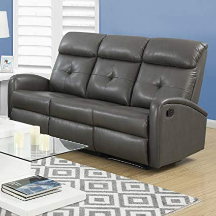 Monarch Specialties Reclining Sofa in Bonded Leather