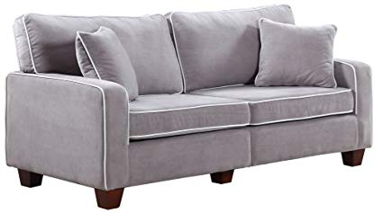 Divano Roma Furniture Collection - Modern Two Tone Velvet Fabric Living Room Love Seat Sofa - Various Colors (Light Grey)