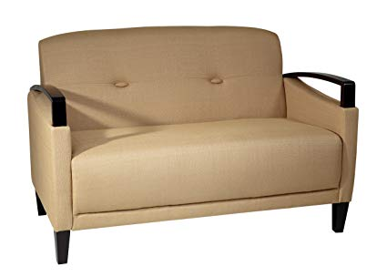 Avenue Six AVE SIX Main Street Loveseat with Interlace Weave Fabric and Espresso Finish Wood Accents, Wheat